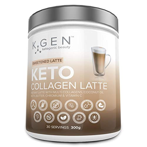 Ketogenic Beauty Keto Collagen Latte | Instant Sweet Latte with Multi Collagens, Coconut Oil MCT's, Butter Powder, Vitamin C & Stevia | Sugar/Gluten Free