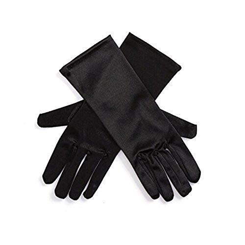 Utopiat Audrey style court sous le coude longueur gants en satin femmes inspiré par les BAT (Noir)
