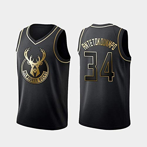 Jersey de Las Mujeres para Hombres - Milwaukee Bucks # 34 Giannis Antetokounmpo Jerseys Black Gold Edition Malla Baloncesto Baloncesto Swingman Jersey Sin Mangas Camisetas (Size : Large)
