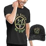 adaewwa Hail Seitan Go Vegan Art Fashion Camiseta + Sombrero de Vaquero para Hombres Negro