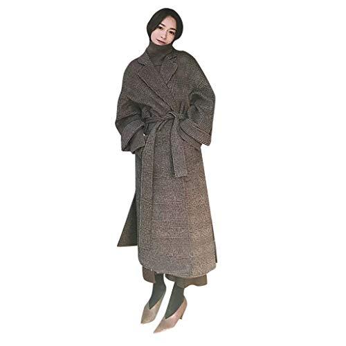Alwayswin Damen Winter Warme Mantel Revers Wollmantel Elegant Wild Windjacke Mode Wild Langer Mante Lose Warme Trench Jacke Outwear Wintermantel Mantel mit Knopf Tasche