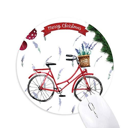 Aquarell Fahrrad Lavendel Blume rund Gummi Maus Pad Weihnachtsbaum Mat