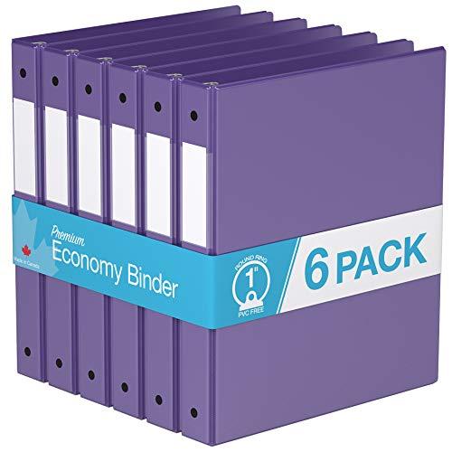 Premium Economy, Round Ring, Binder, 6 Pack (1', Purple)