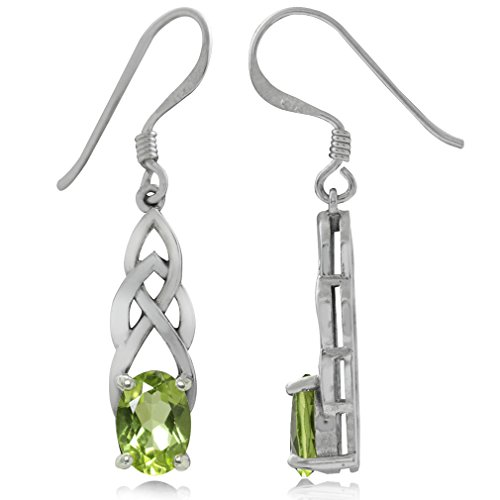 Silvershake 1.84ct. Natural Peridot 925 Sterling Silver Celtic Knot Dangle Hook Earrings
