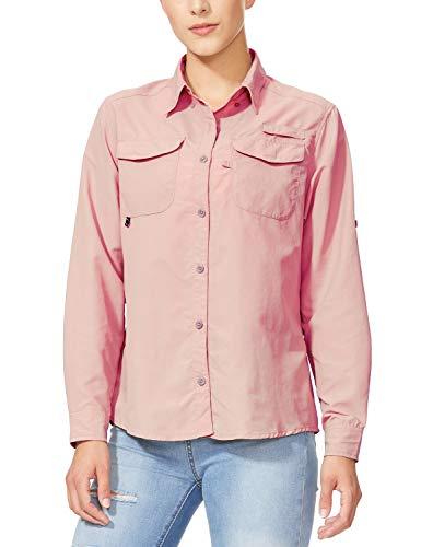 BALEAF Women's Hiking Long Sleeve Fishing Shirt UPF 50+ for Safari Camping Travelling Quick Dry Light Pink XXL