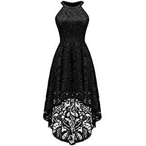 Dressystar Women's Halter Floral Lace Cocktail Party Dress Hi-Lo Bridesmaid Dress