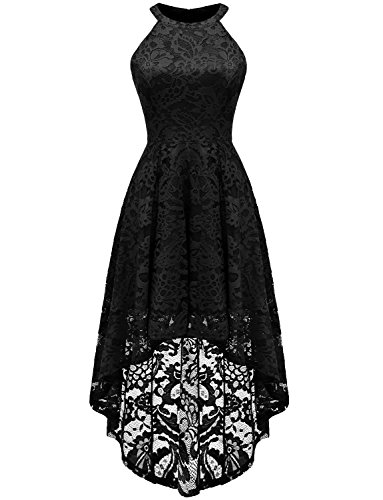 Dressystar Women's Halter Floral Lace Cocktail Party Dress Hi-Lo Bridesmaid Dress 3