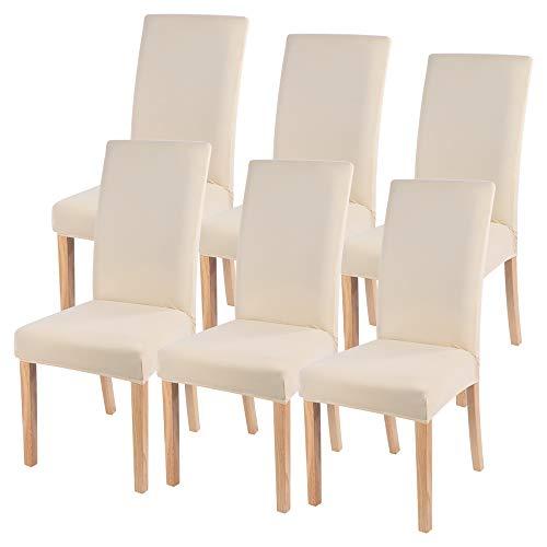 Ryoizen Stuhlhussen Stretch Universal 6er Set Esszimmerstühle Elastischer Stuhlbezug, Einfarbig Schwingstühle Abnehmbarer Moderne...
