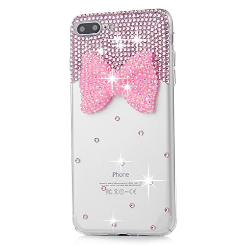 "iPhone 7 Plus Case (5.5"")-MOLLYCOOCLE Crystal Clear Transparent Handmade Bling Shiny Crystal Diamond Design PC Hard Shell Full Protective Case Cover for iPhone 7 Plus,Butterfly Bow Photo #5"