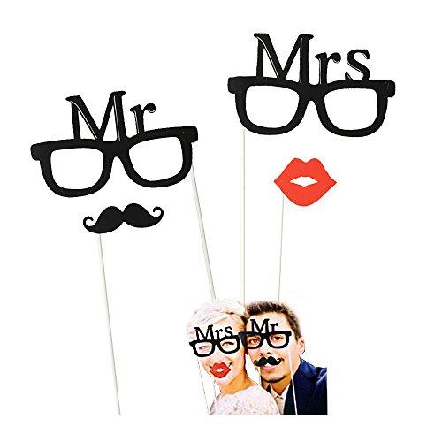 OOTB Mr & Mrs Ensemble de lunettes, bouche et moustache pour photos de fête, 4 pièces