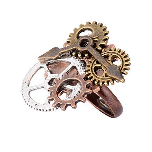 Vektenxi Premium Qualität Single Big Clock Zahnkranz Steampunk Ring Schmuck Geschenk Männer Frauen
