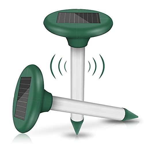 2 Stück Solar Maulwurfabwehr, Ultrasonic LED Maulwurfschreck, Wühlmausvertreiber, Wühlmausschreck, Mole Repellent, Maulwurfbekämpfung für Den Garten