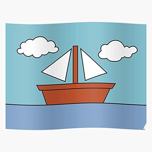BrandedBills Living Boat Picture Schiff Simpsons See Ocean Room Boot Clouds Geschenk für Wohnkultur Wandkunst drucken Poster 11.7 x 16.5 inch