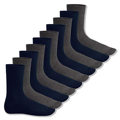 Footstar Herren und Damen Baumwollsocken (10 Paar), Klassische Socken aus Baumwolle - Everyday! - Marine-anthra 39-42