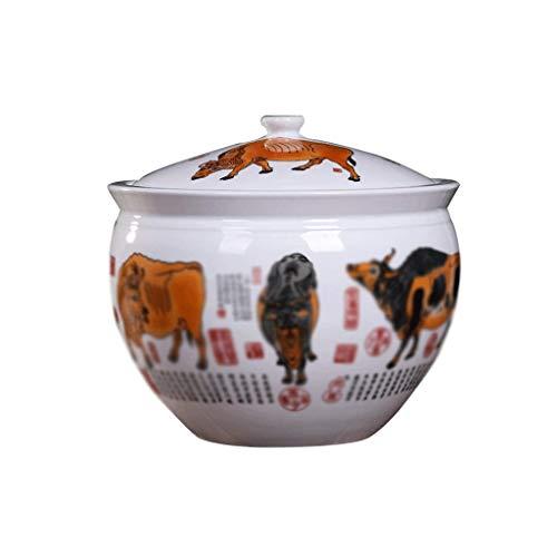 DIAOD Ceramic Cover Rice Jar Tea Leaf Oil Tank Wine Altar Cylinder Water Tank Ceramic Rice Cylinder Kitchen Rice Barrel Rice