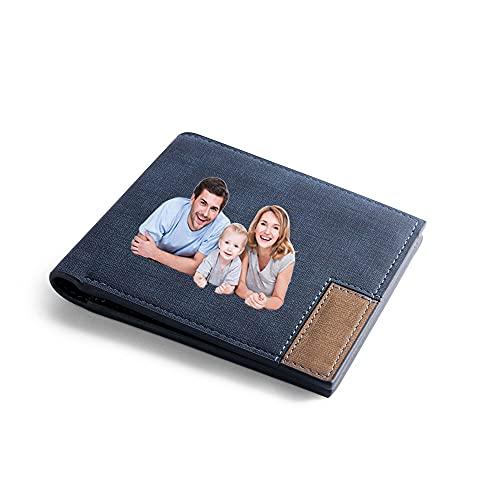 Glooraca Cartera de fotos personalizadas, de piel personalizada, regalos para papá, tarjetas grabadas con texto en inglés, para familiares y amigos, regalo para el día del padre