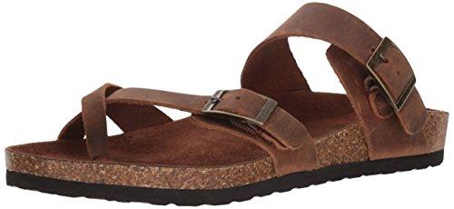 White Mountain Shoes Gracie Women's Flat Sandal, Brown/Leather, 9 M