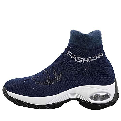 Enkel Korte Laarsjes, Snowboots Dames Grote Maat High-Top Air Cushion Cover Foot High-Top Schoenen Plus Velvet Cotton Boots,Blue,41