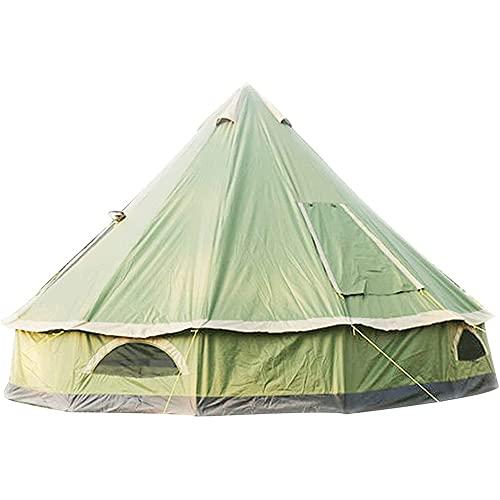 Massage-AED 5-8 Persone 4M Piramide Tenda Rotonda Campana Tenda Tela Yurta Tenda 210D Oxford India Tenda Impermeabile Famiglia Tenda Portatile Tenda Privacy per Campeggio Caccia All'aperto
