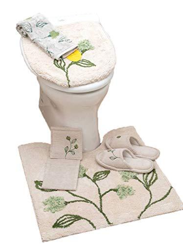 フローレス 『特別5点 トイレマット セット』殆どの洗浄暖房用フタに対応 高級 Sybilla(シビラ) 立体的な花刺繍が魅力的 綿 ナチュラル 自然 花 フラワー