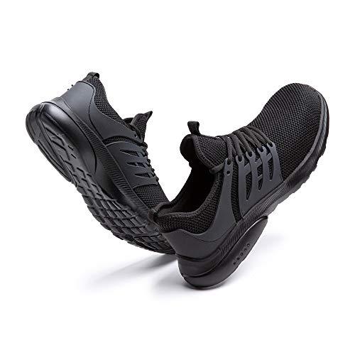 Sicherheitsschuhe Herren Damen Leicht Arbeitsschuhe Stahlkappe Sneaker Arbeit Turnschuhe Sportlich Atmungsaktiv Safety Shoes rutschfest Schwarz-2 42 EU