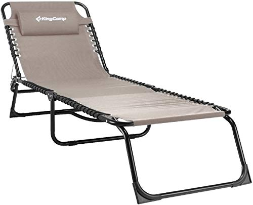 KingCamp Chaise Lounge Removable Pillow 3-Position Adjustable Chair Folding Patio Recliner for Camping Pool Beach Outdoor, Supports 300lbs, Beige