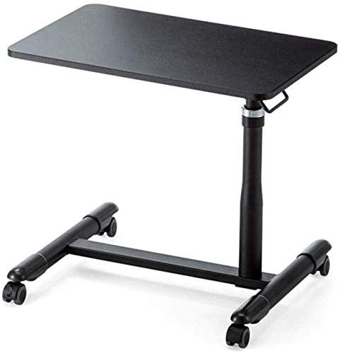 SEESEE.U White Steel Standing Desk with White Panel,USB, Adjustable Height, Lockable Casters, Foldable,Small Tables Folding for computer Lazy Bedside Laptop