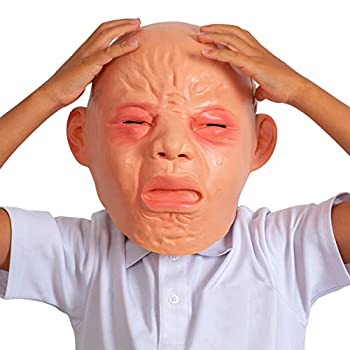 Skeleteen Crying Baby Costume Mask - Angry Crybaby Funny Lifelike Rubber Face Mask Accessories for Costumes for Adults and Children