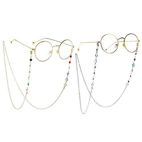 2 Piezas Cadena de Gafas,Cadena de Gafas para Mujer, Cadena de Gafas de Lectura, Adecuada para Gafas de Lectura y Miopía,(Oro y Plata)