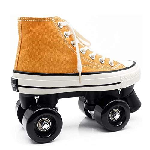 Pinkskattings@ Rollschuhe Für Kinder Rollerskates Leinwand Rollschuhe Kinder, Gelbe Leinwand-Serie,39