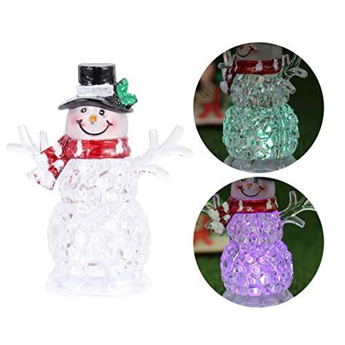 Uonlytech Weihnachten schneemann nachtlicht dekorative led tischlampe klar acryl schneemann Figur Desktop Ornamente für Weihnachten (schwarzer Hut)