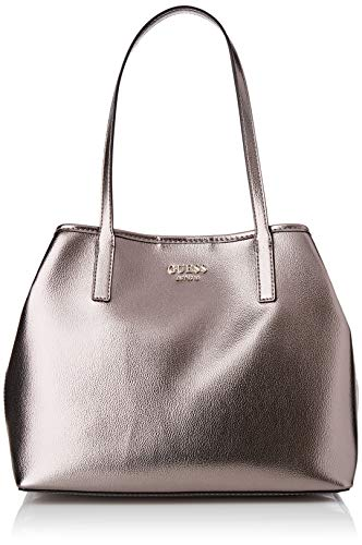 Guess Damen Vikky Tote, Silber (Pewter), 15x27x32,5 Centimeters