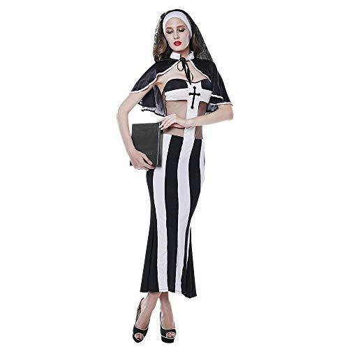 HJG Sündhaft heißes Nonnenkostüm für Damen, Halloween-Rollenspiel- und Cosplay-Priesterkostüm, nuttiges Kleid