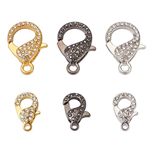 PandaHall 6pcs Alloy Rhinestone Lobster Claw Clasps 2 Sizes Golden Platinum Brown Metal Lobster Claw Clasps for Necklaces Bracelet DIY Jewelry Making Accessories, Random Mixed Color