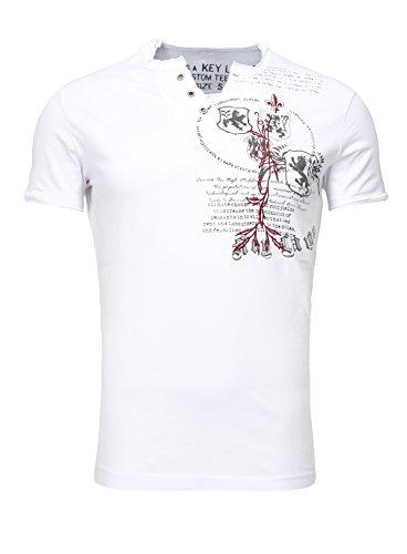 Key Largo Herren Sommer T-Shirt T WEAPON button Printshirt Slim Fit Schnitt V-Ausschnitt mit Knöpfen weiß XL