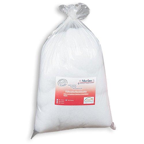 Merino Füllwatte 3 Kg Beutel | Füllmaterial aus 100% Polyester | Bastelwatte formbeständig und extra flauschig | Kissenfüllung