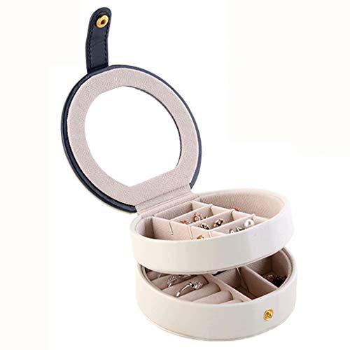 ZDNB Caja organizadora de Joyas de Gran Capacidad Caja de joyería de Viaje pequeña para Mujeres con Espejo Incorporado Forma Redonda de Doble Capa, Blanco, 11 cm × 5,5 cm × 5 cm