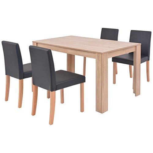 Festnight- Tisch Stuhlsets 1 Tisch und 4 Stühle Kunstleder Eiche Schwarz