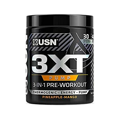 USN Supplements 3xt Pump 3 in 1 Pre Workout Thermogenic Fat Burning Energy Powder