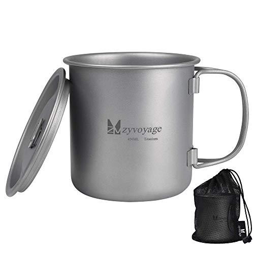 zyvoyage Titan Becher Tasse mit Deckel Camping Tragbar Wasserbecher Ultraleichter Outdoor Kochgeschirrtopf 450ml Klappgriff (450ml)