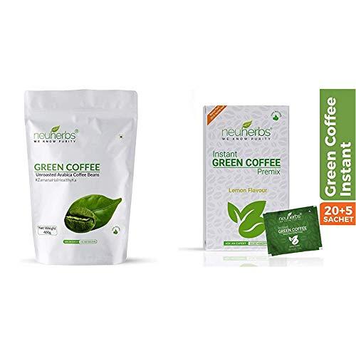 Neuherbs Green Coffee Beans Your Natural Immunity Booster and Weight Loss Partner: 400 G & Neuherbs Instant Green Coffee Premix for Weight Management: 30 Sachet