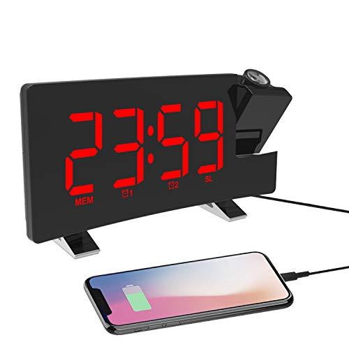Reloj Despertador de Proyección, Despertador Digital con Radio FM, Puerto de Carga USB, Pantalla LED Curva de 7.1' de Ancho, 4 Niveles de Brillo, Alarma Dual, Snooze(sin Adaptador)