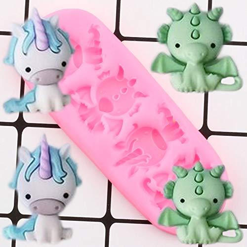 FEINIAO Dinosaurio Dragón Moldes de Silicona Moldes con Fondant de Chocolate Partido bebé Partido Pastel Decoración Herramientas Magdalena Topper Candy Polymer Clay Molds