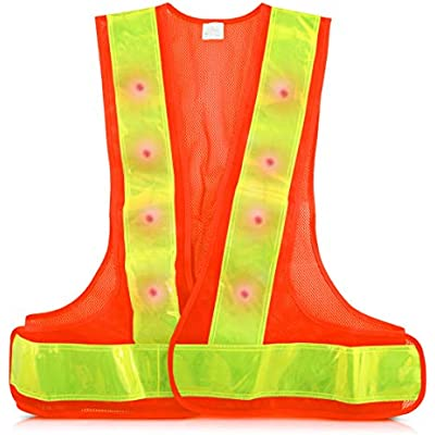 360/° High Visibility Traffic Outdoor Night Warning Reflector Clothing with Reflective Stripes and 16 LED Lights kwmobile LED Light Safety Vest