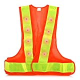 kwmobile Chaleco Reflectante Alta Visibilidad - Chaleco de Seguridad Reflector Naranja con luz LED roja - Tiras Reflectantes para Practicar Deporte