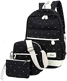 Women 3pc Canvas Fashion Outdoor Travel Backpack Bag Black