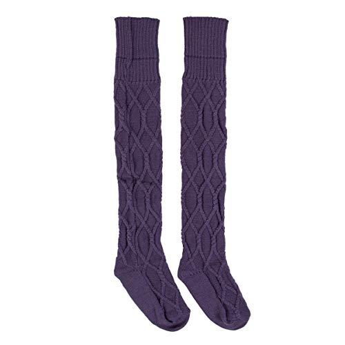 LCM Invierno sobre Calcetines de Rodilla Sexy cálida cálida Altas Medias de Punto for Mujer for Mujeres de Larga Bota de Muslos Altos (Color : Purple)