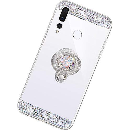 Funda Compatible con Huawei Nova 4.Espejo Glitter Diamante Anillo Soporte Brillo TPU Transparente Silicona Suave Carcasa Cover Mirror Bling Moda Ultrafino Protective Bumper Case,Plata