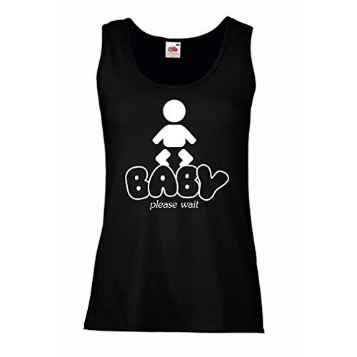 lepni.me Camisetas sin Mangas para Mujer Carga del bebé - Camisas de Maternidad Divertidas con Refranes (X-Large Negro Blanco)