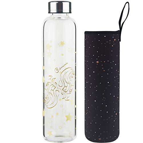 DEARRAY Botella de vidrio borosilicato con estampado de 12 constelaciones 500ml / 1000ml / 1 Litro, Botella de Agua de Cristal con Funda de Neopreno y Elegante Tapa de Acero Inoxidable(Géminis,1000ml)